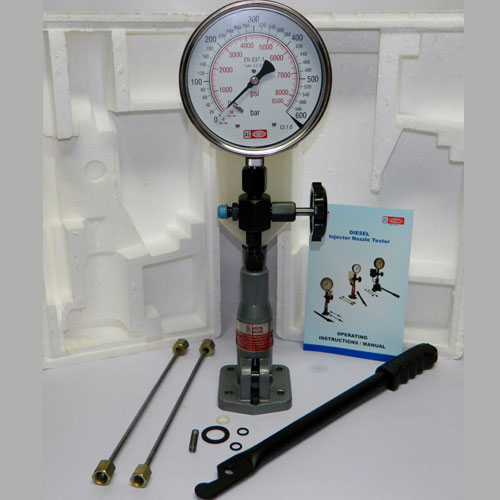 Injector Pop Tester with 0-600 Bar PSI Gauge